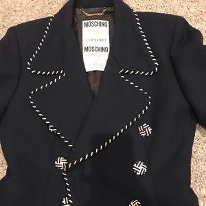 Beautiful navy Jacket with white stitching